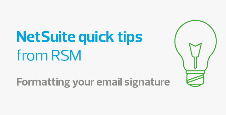How to format your email signature in NetSuite